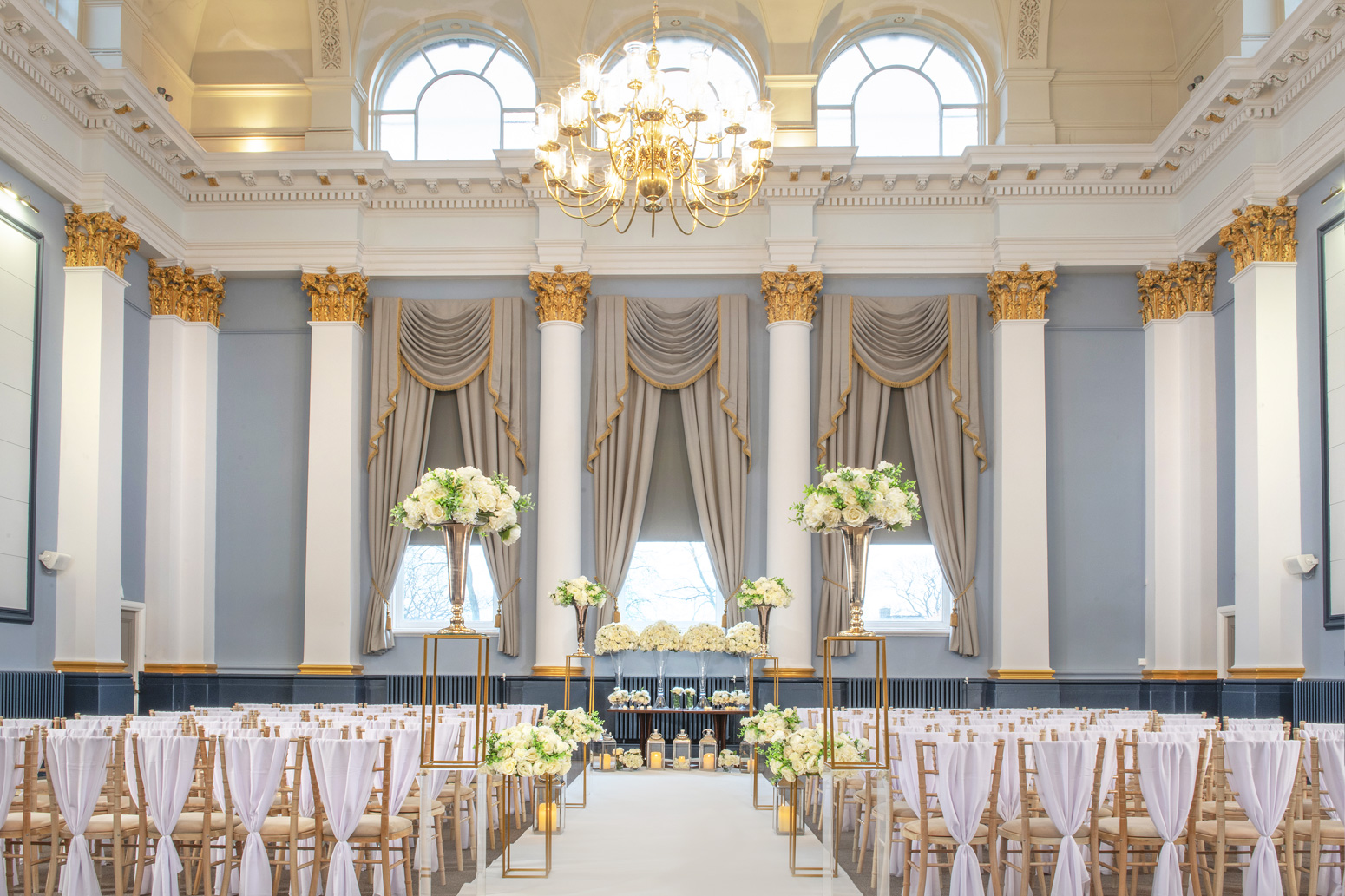 wedding room with curtains